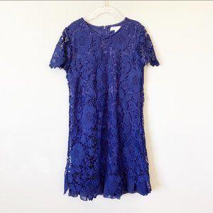 Girls LOVE FIRE blue lace dress with ruffle hem M
